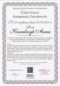 Certyfikat przedłużania i zagęszczania rzęs metodą 1:1